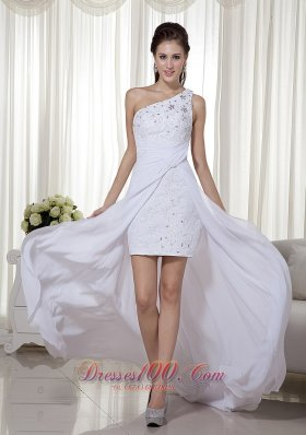 High-low One Shoulder White Chiffon Beading Prom Pageant Dress