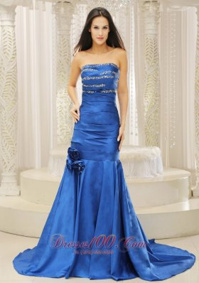 Mermaid Royal Blue Court Train Evening Dress for Prom