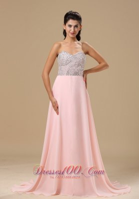 Beaded Light Pink Chiffon Prom Celebrity Dress