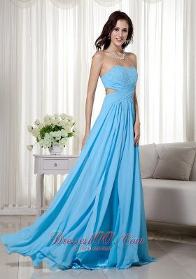 Aqua Blue Brush Train Chiffon Beading Prom Dress