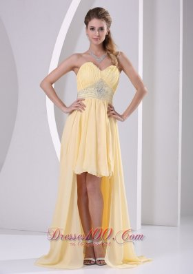 High-low Yellow Detachable Prom Homecoming Dress
