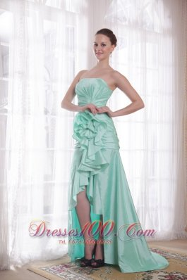 High-low Apple Green Taffeta Strapless Prom Dress