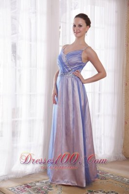 Spaghetti Straps Lilac Floor-length Beading Prom Dress