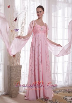 Watteau Train Pink Chiffon Sequined Prom Evening Dress