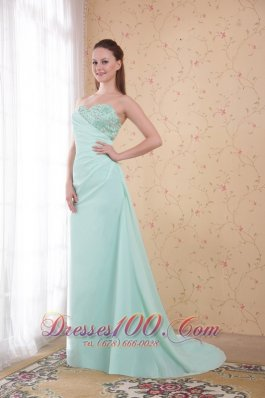 Apple Green Brush Train Appliques Prom Evening Dress