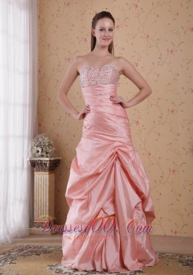 Pink Floor-length Taffeta Beading Prom Celebrity Dress