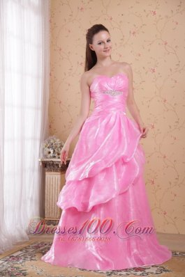 Layered Rose Pink Organza Beading Prom Celebrity Dress
