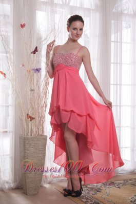 High-low Spaghetti Straps Watermelon Chiffon Prom Dress
