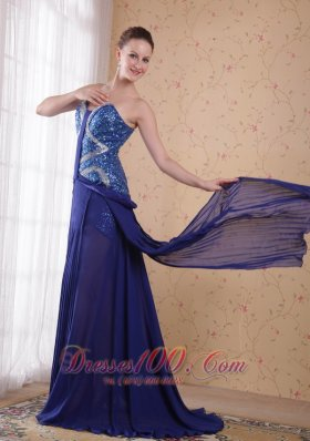 Sequined Royal Blue Chiffon Prom Evening Party Dress