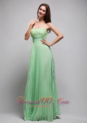 Apple Green Pleated Chiffon Beading 17 Prom Dress