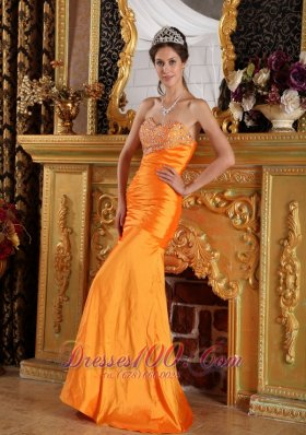 Mermaid Orange Beading Ruched Prom Pageant Dress