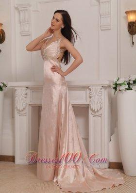 Cross Straps Taffeta Beading Prom Evening Pageant Dress