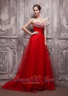 Blood Red Brush Train Net Beading Prom Pageant Dress - US$165.89