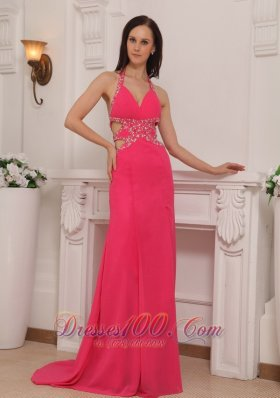 Halter Brush Train Hot Pink Prom Celebrity Pageant Dress
