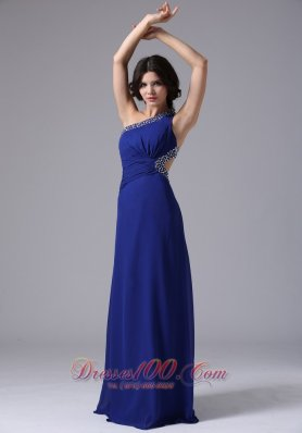 One Shoulder Blue Beaded Chiffon Prom Evening Dress