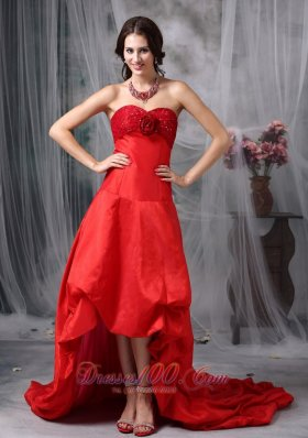 High-low Blood Red A-line Cocktail Dress Taffeta