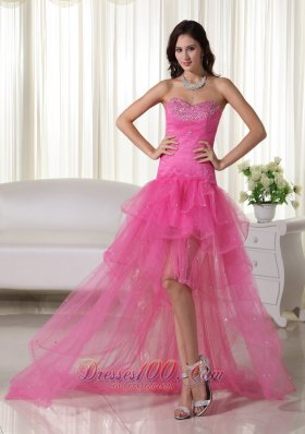 High-low Organza Beading Pink Prom Cocktail Dress