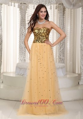 Sequined Gold Strapless Brush Train Tulle Prom Dress