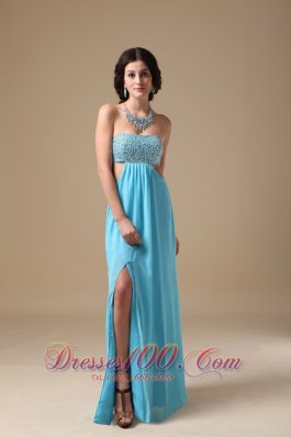 Aqua Empire Strapless Chiffon Beading Prom Evening Dress
