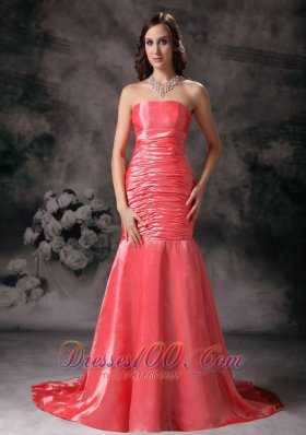 Mermaid Watermelon Red Strapless Ruched Prom Dress