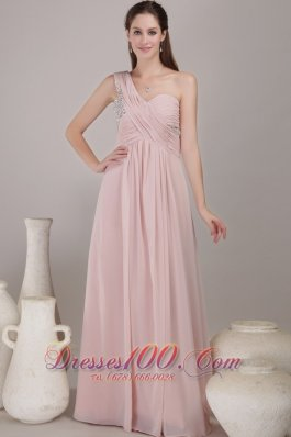One Shoulder Floor-length Chiffon Beading Prom Dress