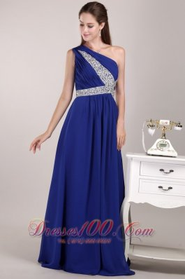 Blue One Shoulder Sequined Prom Evening Dress