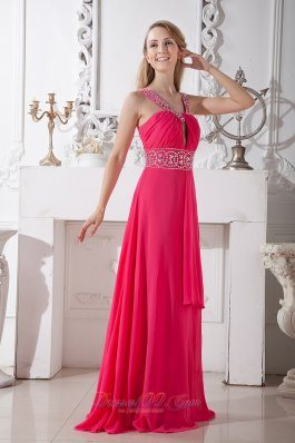 V-neck Hot Pink Beading Chiffon Prom Dress