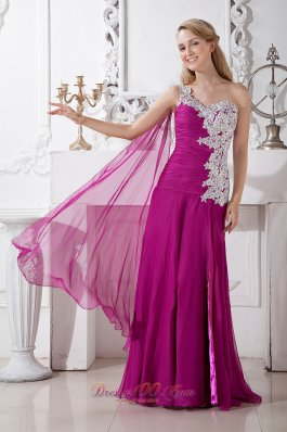 Watteau Train Fuchsia One Shoulder Appliques Prom Evening Dress