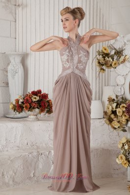 Halter Drapping Appliques Beaded Champagne Prom Evening Dress