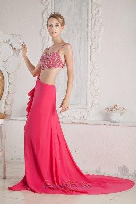 Spaghetti Straps Hot Pink Beaded Chiffon Prom Pageant Dress