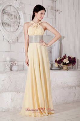 Silver Belt Light Yellow Straps Prom Evening Dress