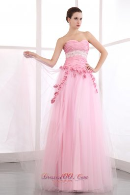 Handmade Flowers Pink Tulle Appliques Prom Dress