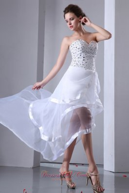 High-low White Organza Beaded Prom Cocktail Dress