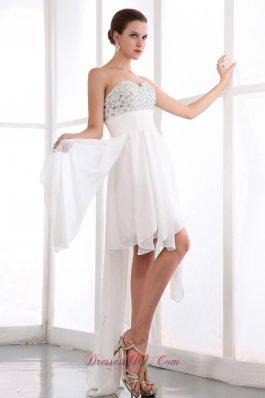 White Asymmetrical Chiffon Beading Prom Cocktail Dress