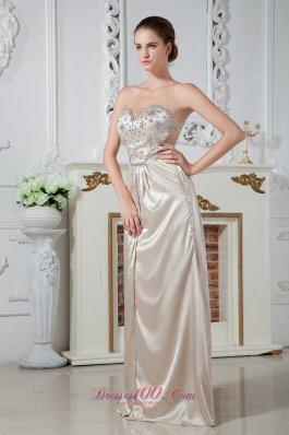 Champagne Sweetheart Floor-length Beading Prom Dress