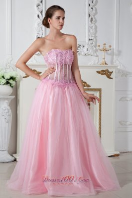 Appliques Pink Prom Dress Strapless Brush Train Tulle