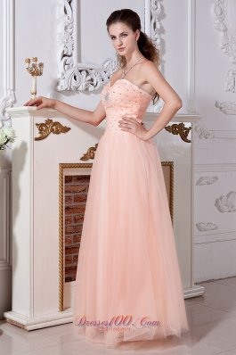 Light Peach Prom Dress Empire Sweetheart Tulle Beading