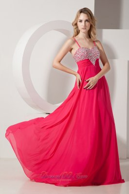 Spaghetti Straps Heavy Beading Chiffon Fuchsia Prom Dress