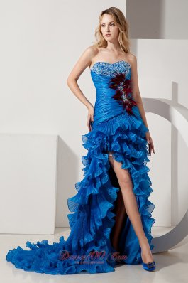 Feather High Low Ruffled Blue Organza Prom Evening Dress