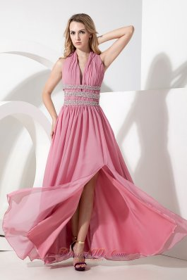 Rose Pink Empire Halter Prom Dress Chiffon Beading