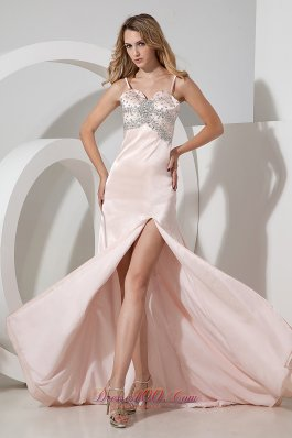 Spaghetti Straps Baby Pink High Slit Prom Pageant Dress