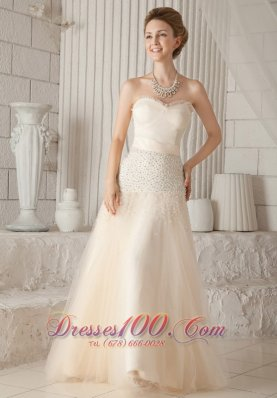Champagne A-line Tulle Beading Prom Pageant Dress