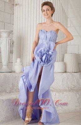 Flower Asymmetrical Prom Dress Mermaid Lilac