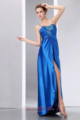 High Split Prom Dress Spaghetti Straps Blue