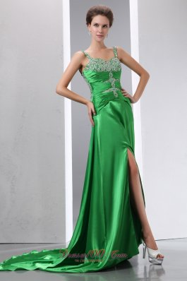Court Train Green Teenager Prom Evening Dress Beading Ruch