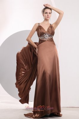 Pleat Brush Train Seventeen Prom Pageant Dress Brown