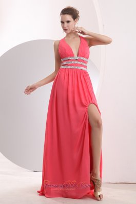 Halter Brush High Split Watermelon Prom Dress