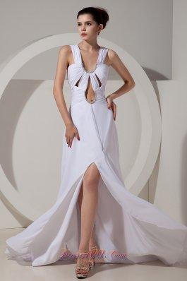 Wide Straps Brush Prom Celebrity Dress White High Split