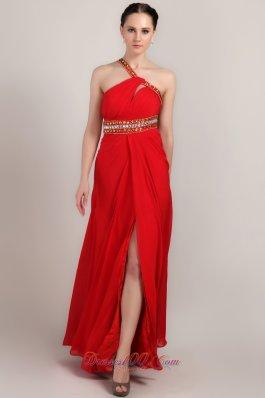 One Shoulder Ankle-length Red Slit Prom Dress