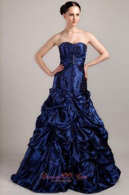 Pick-ups Brush Prom Dress Navy Blue A-line